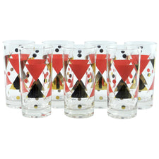 Vintage Gay Fad Designer Red & Gold Collins Glasses | The Hour