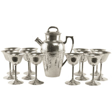 Vintage Bernard Rice's Sons Silver Cocktail Shaker Set, The Hour