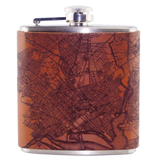 Tactile Craftworks D.C. Map Leather 6 oz. Flask, The Hour Shop