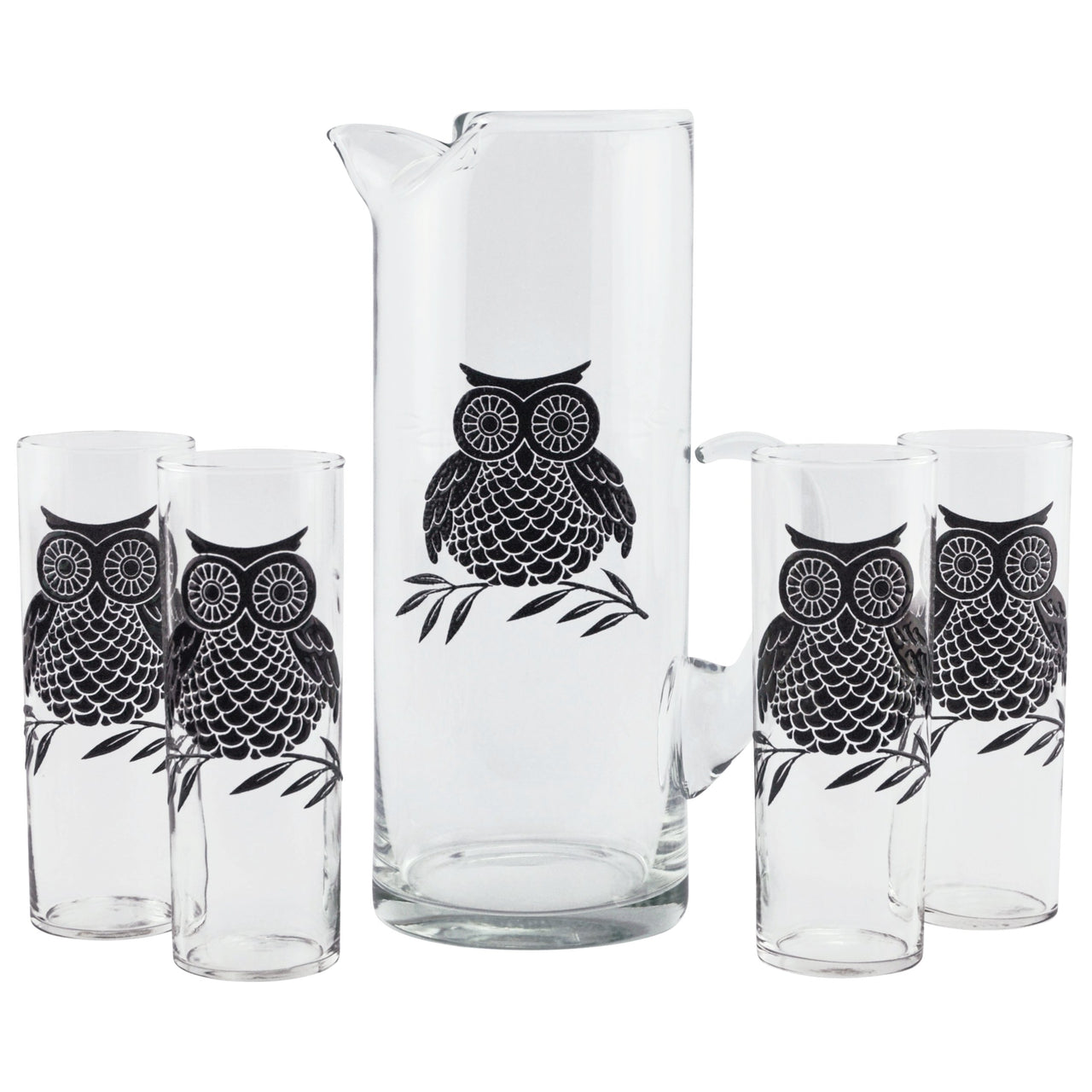 Black Owl Pitcher & Glasses Set | The Hour Shop Vintage