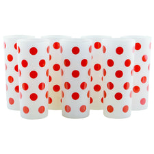 Red Polka Dot Frosted Collins Glasses | The Hour Vintage