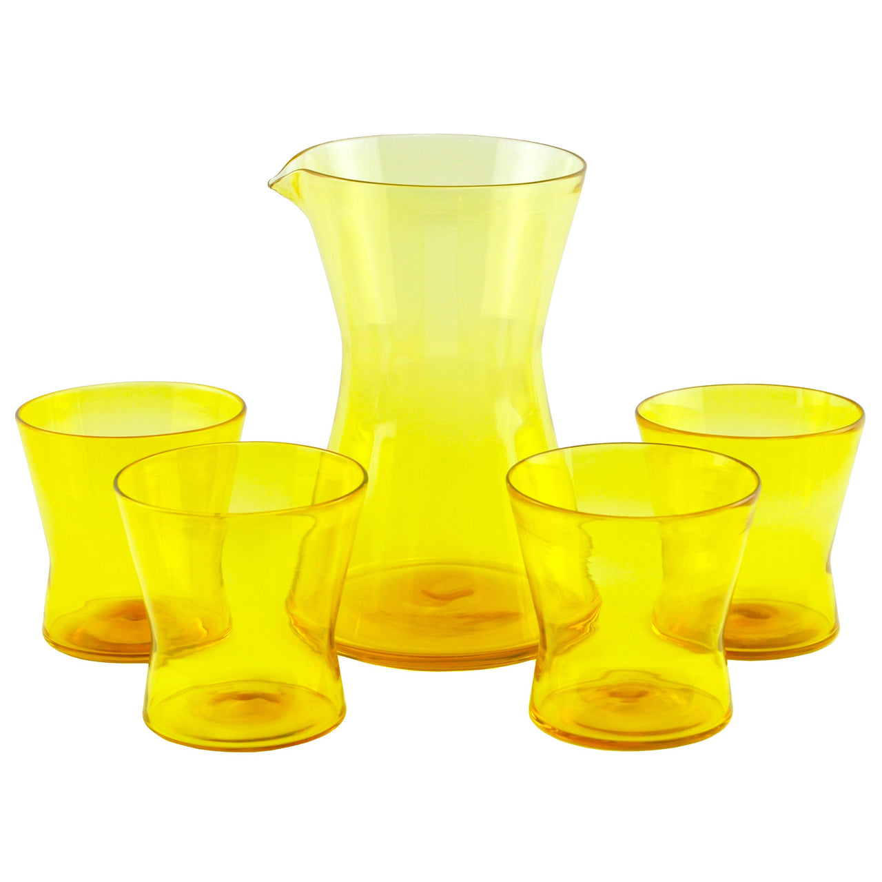 Hand-blown Yellow Cocktail Pitcher Set | The Hour Shop Barware