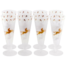 Frost Gold & White Pony Pilsner Glasses, The Hour Shop Vintage