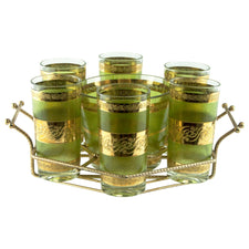 Green & Gold Ice Bucket Caddy Set | The Hour Shop Vintage