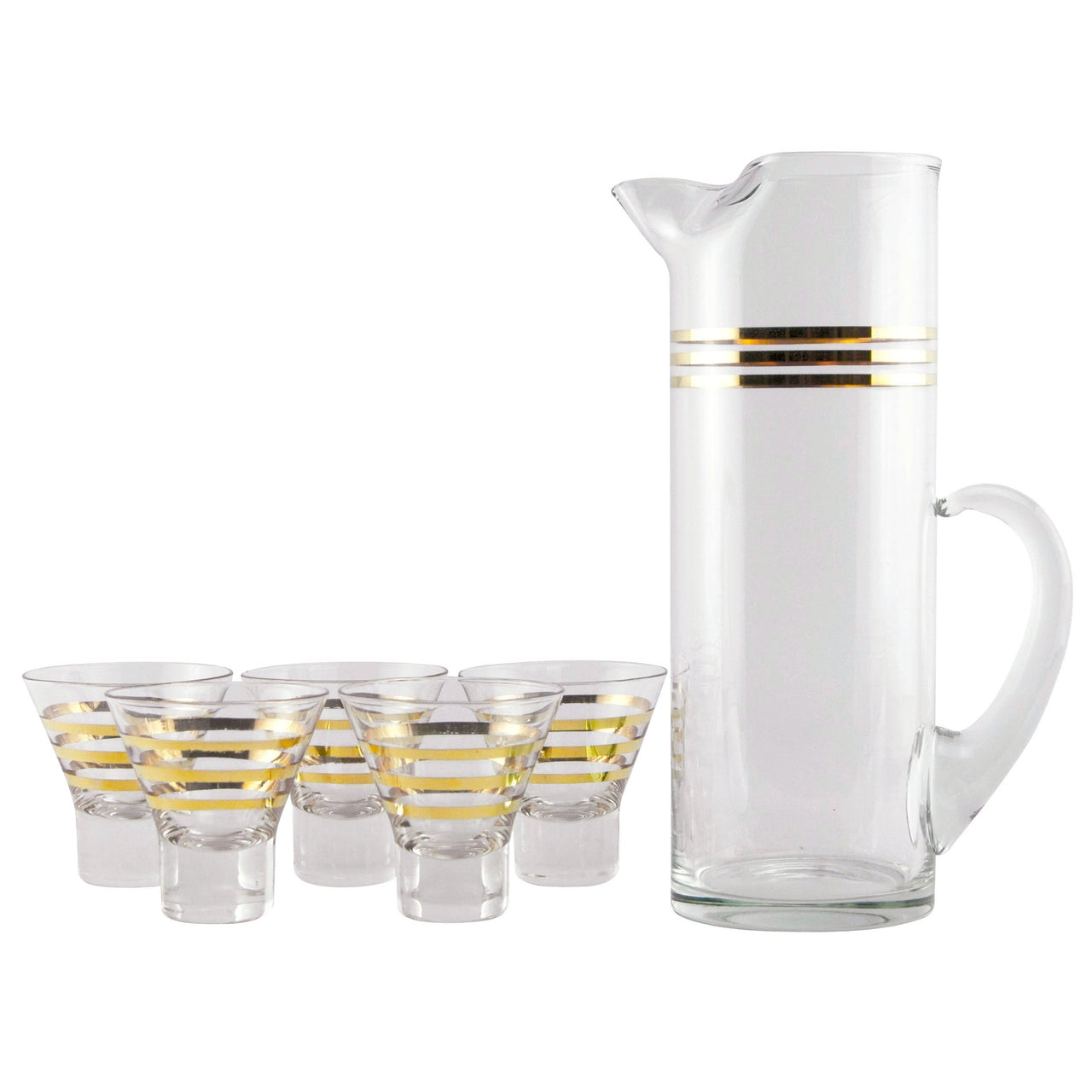Gold Band Cocktail Pitcher Set | The Hour Shop Vintage Glass