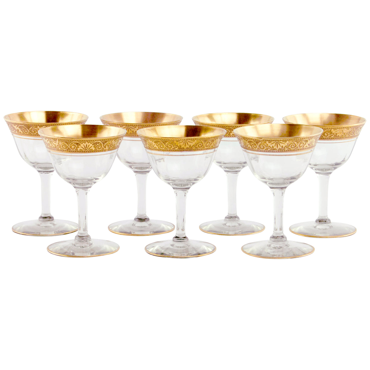 Embossed Gold Band Cocktail Glasses