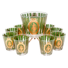 Vintage Gold & Green Ice Bucket Cocktail Set | The Hour Shop