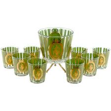 Vintage Gold & Green Ice Bucket Rocks Glass Set, The Hour Shop
