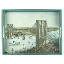 Brooklyn Bridge c. 1885 Rectangle Lacquer Tray | The Hour Shop