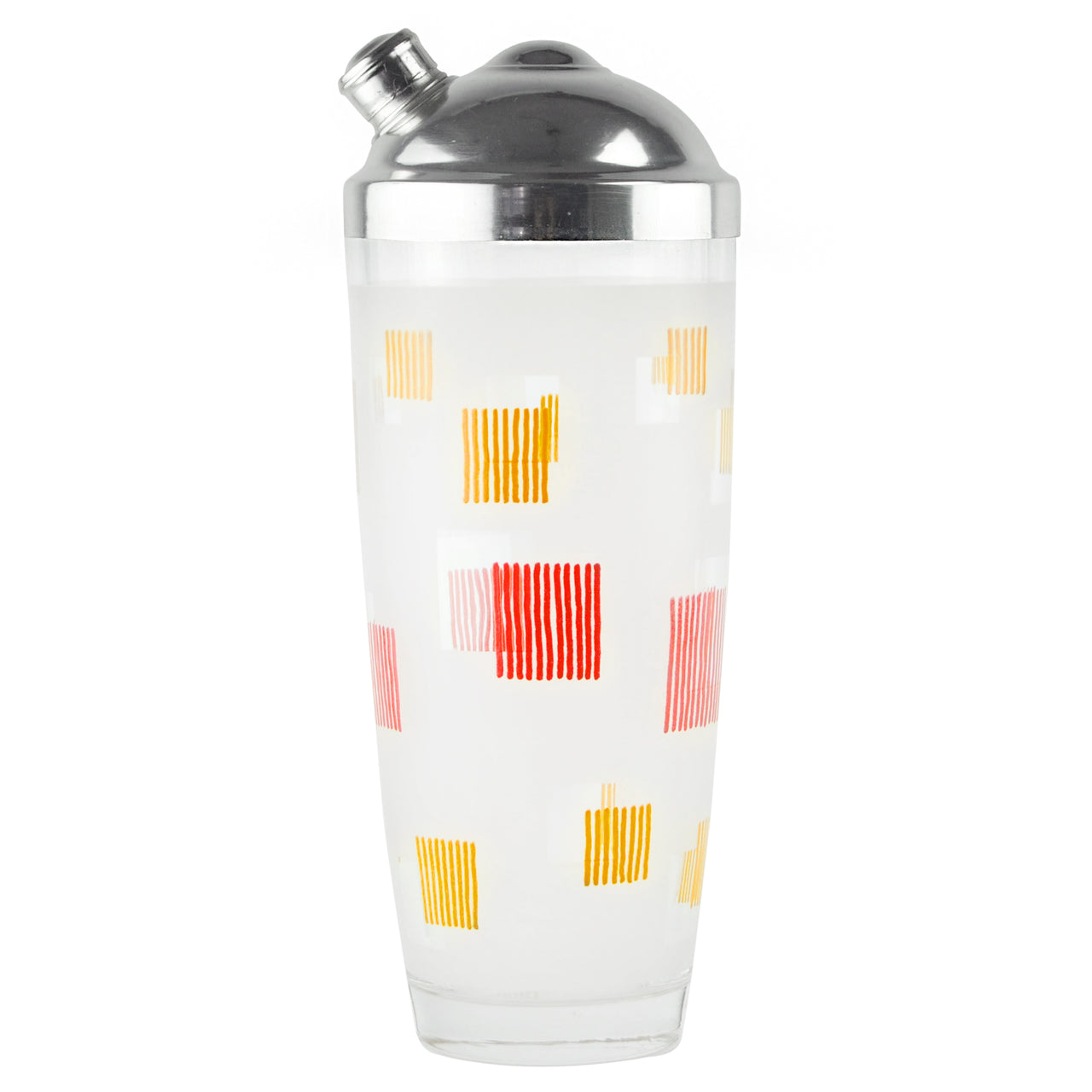 Red & Yellow Squares Glass Cocktail Shaker