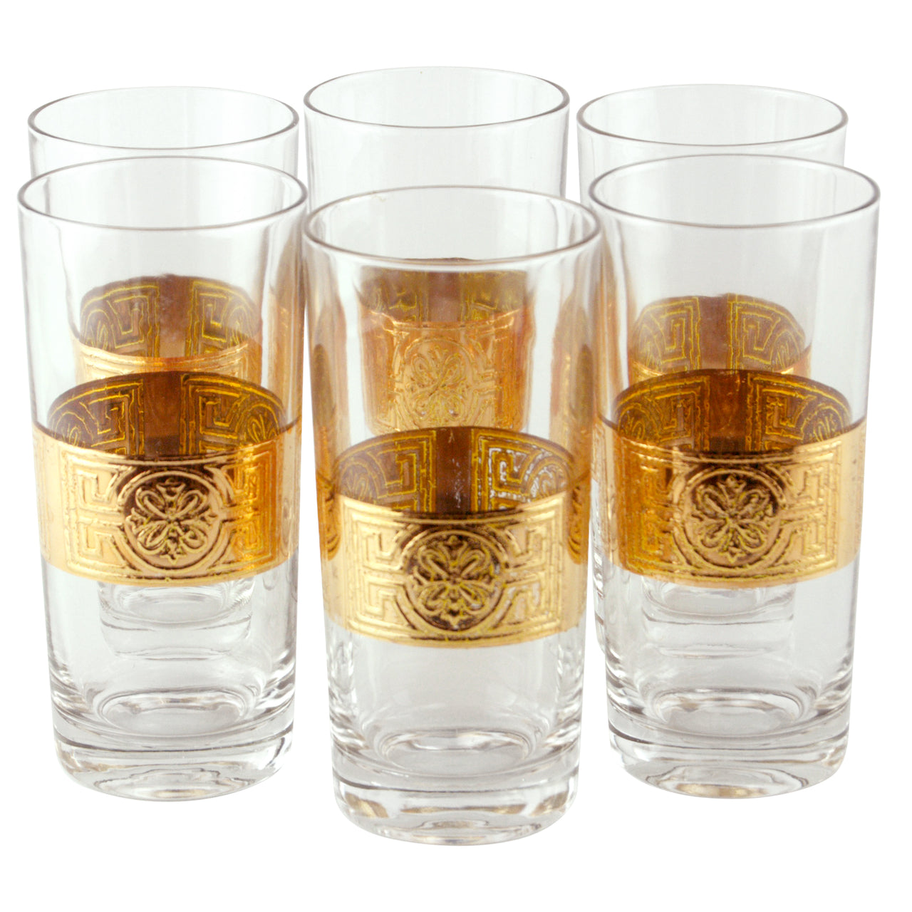 Embossed Gold Band Collins Glasses