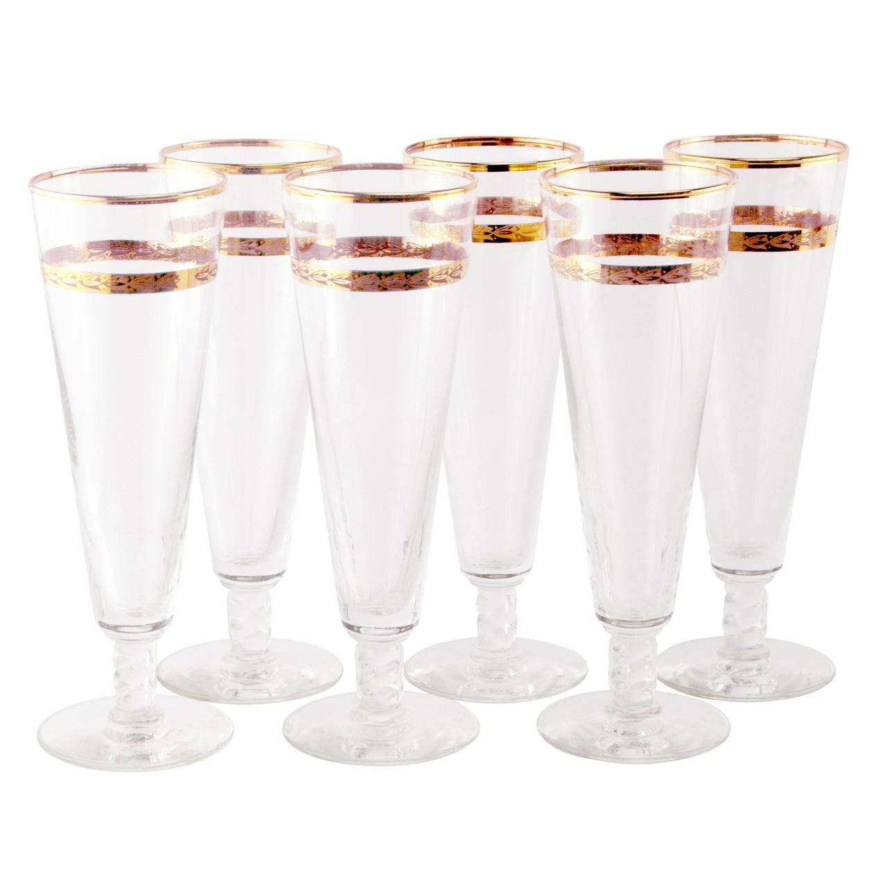 Libbey Gold Band Pilsner Glasses | The Hour Shop Vintage