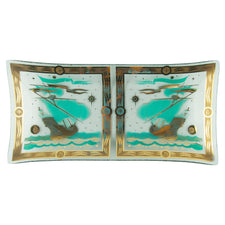 F. Press Aqua & Gold Ship Bent Glass Tray | The Hour Shop Vintage