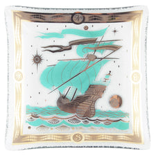 F. Press Aqua & Gold Ship Bent Glass Square Tray | The Hour Vintage
