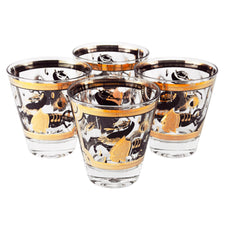 Vintage Fred Press Black & Gold Trojan Horse Double Old Fashioned Glasses | The Hour Shop