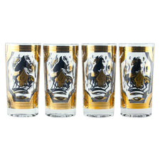 F. Press Trojan Horse Set of 4  Collins Glasses | The Hour Vintage