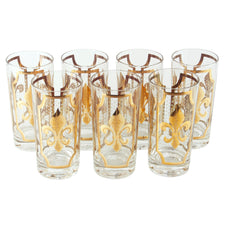 Vintage Fred Press Gold Fleur-De-Lis Collins Glasses | The Hour Shop