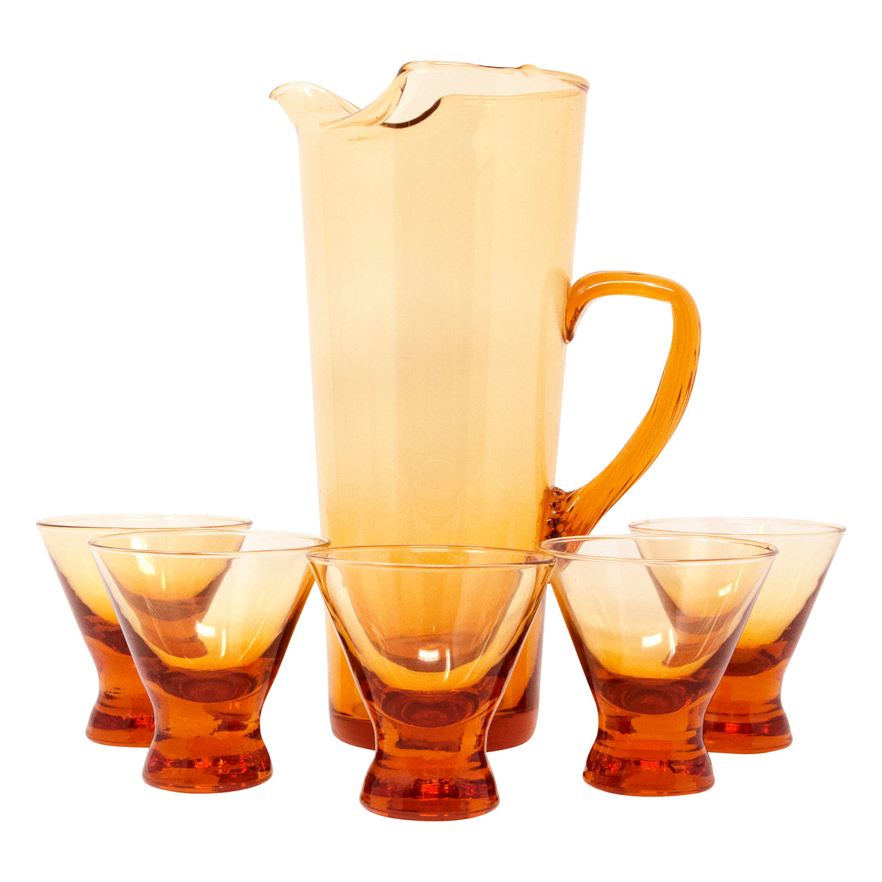 Vintage Amber Italian Cocktail Pitcher Set Front | The Hour Shop