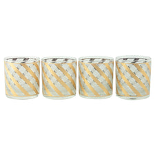 Gold & Frost Stripe Rocks Glasses | The Hour Shop Vintage