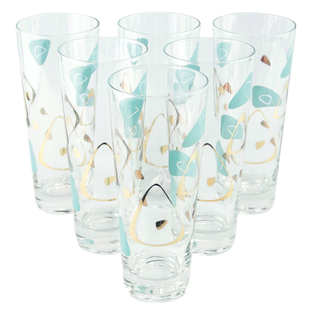 Aqua & Gold Atomic Collins Glasses | The Hour Shop Vintage