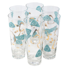 Vintage Aqua & Gold Mod Amoeba Tapered Collins Glasses | The Hour Shop