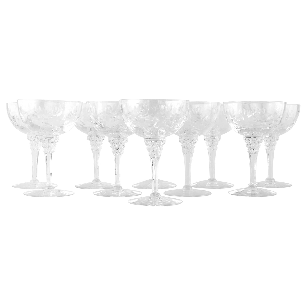 Tiffin Cut Crystal Coupe Glasses | The Hour Shop Vintage