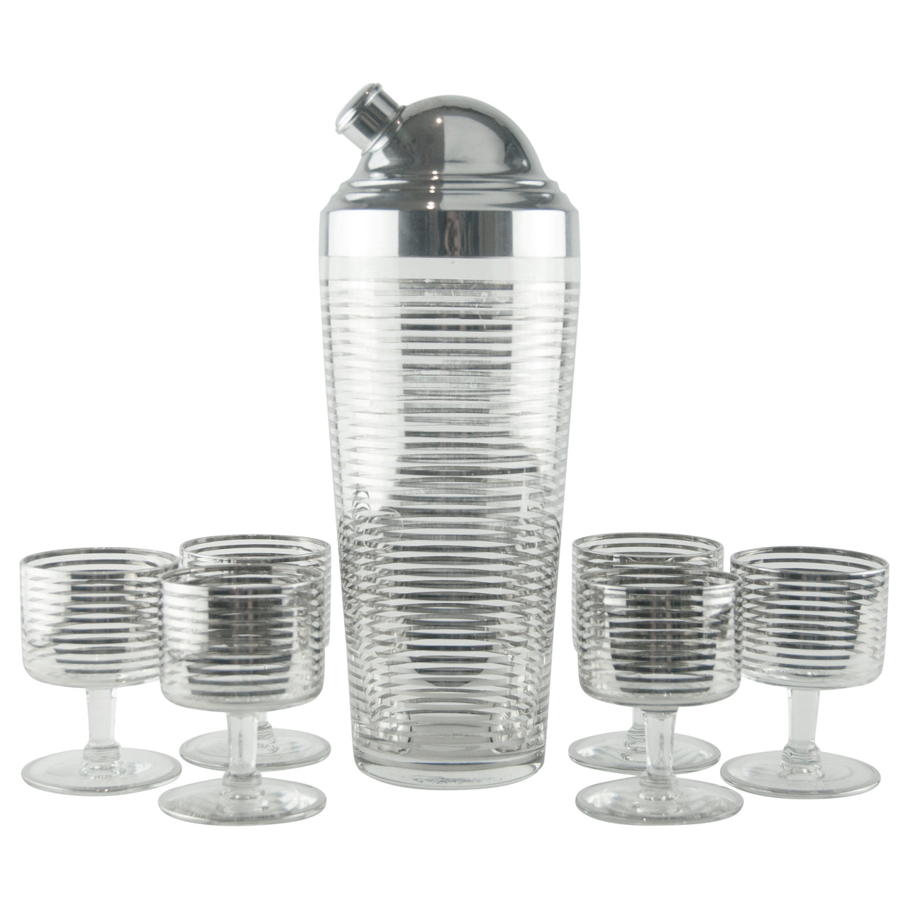 Silver Striped Cocktail Shaker Set | The Hour Shop Vintage Deco
