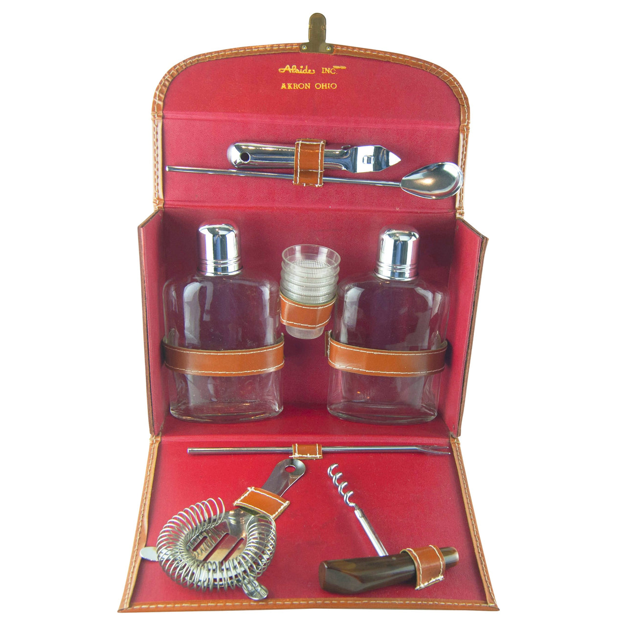 Sovereign Leather Travel Bar Set| The Hour Shop Vintage Barware