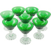 Fostoria Green & Clear Coupe Glasses | The Hour Shop Vintage