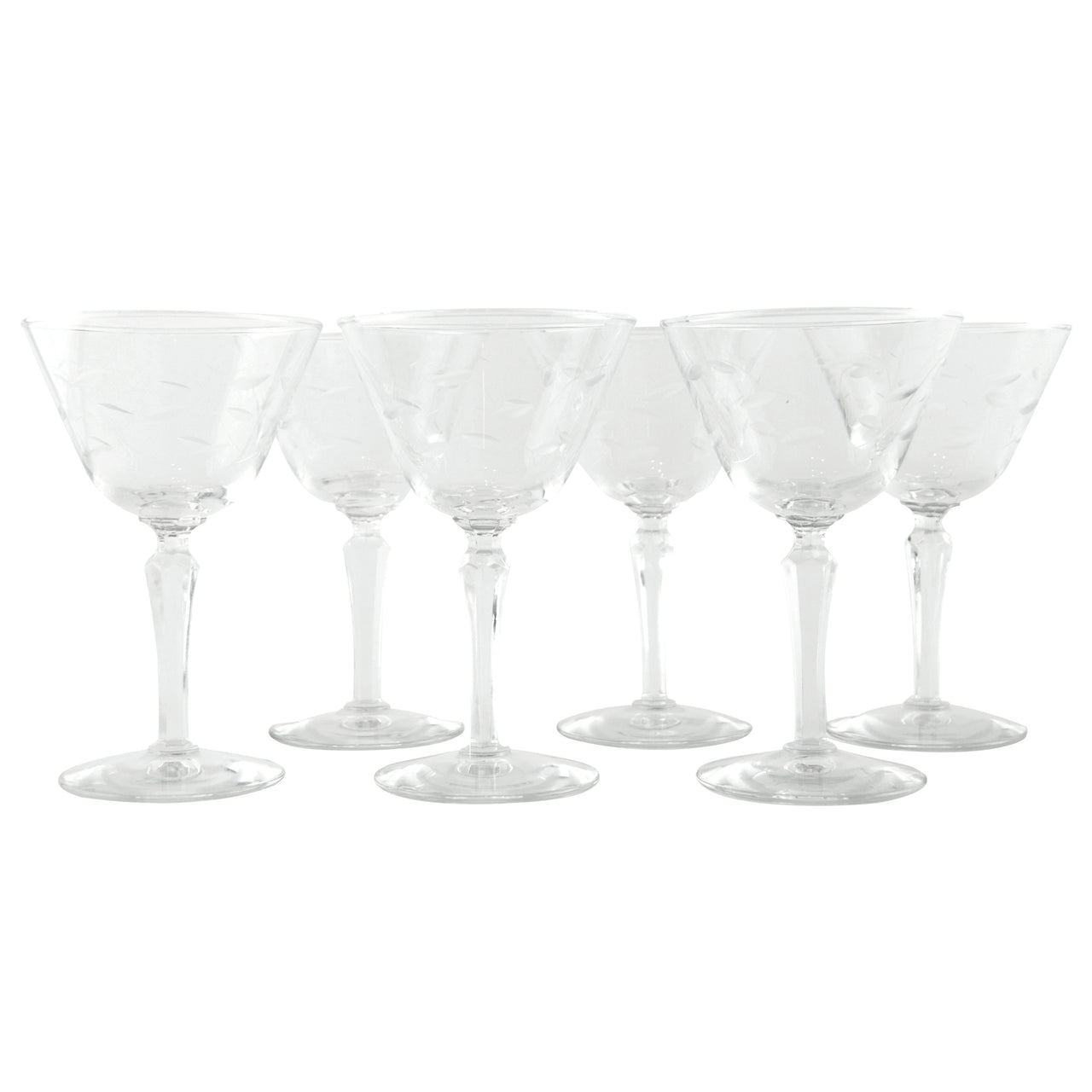 Cut Oval Manhattan Cocktail Glasses | The Hour Shop Vintage