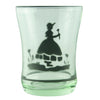 Prohibition Era Vintage Stenciled Lady Light Green Shot Glasses