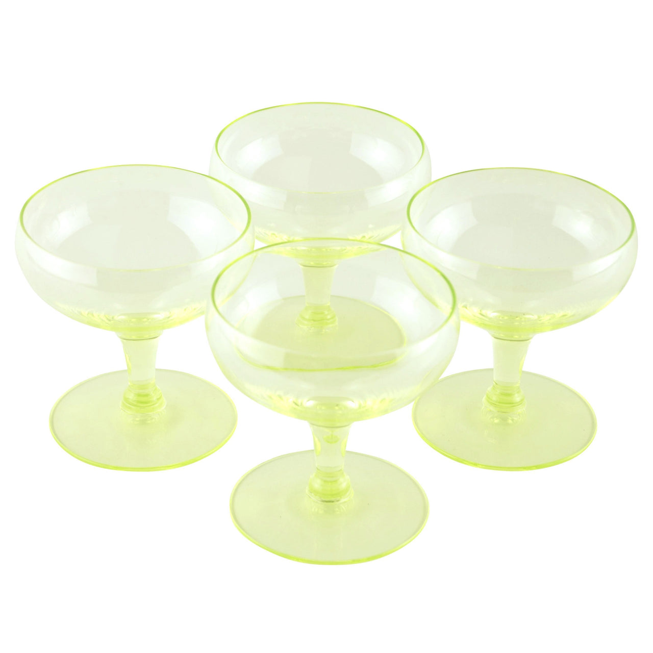 Yellow Vaseline Glass Coupe Glasses | The Hour Shop Vintage