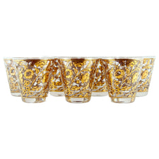 Culver Gold & Black Floral Old Fashioned Glasses