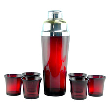 Ruby Red 7 Piece Cocktail Shaker Set | The Hour Shop Vintage