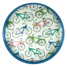 Multi Color Bicycles Round Lacquer Tray | The Hour Shop
