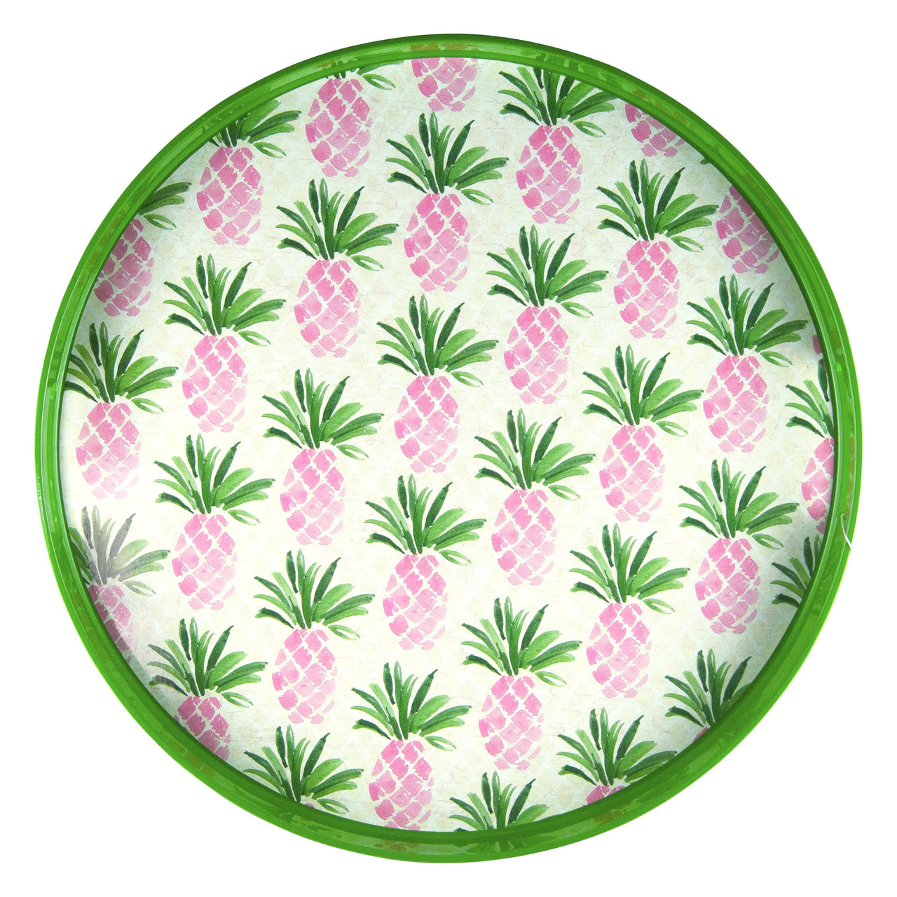 Pink Pineapple Round Lacquer Tray | The Hour Shop