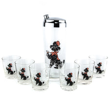 Pink & Black Poodle Cocktail Shaker Set | The Hour Vintage