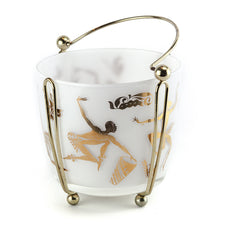 Gold Dancers Milk Glass Ice Bucket | The Hour Shop Vintage