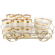 Culver Icicle Glass Gold Wagon Caddy Set | The Hour Vintage