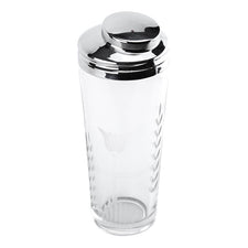 Frosted Tulip Cut Glass Cocktail Shaker