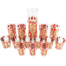 Gay Fad Red & Pink Paisley Cocktail Pitcher Set | The Hour Vintage