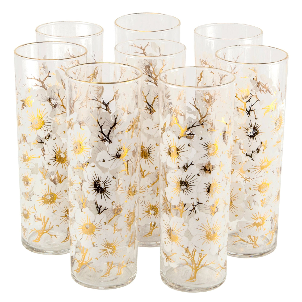 White & Gold Dogwood Collins Glasses | The Hour Vintage