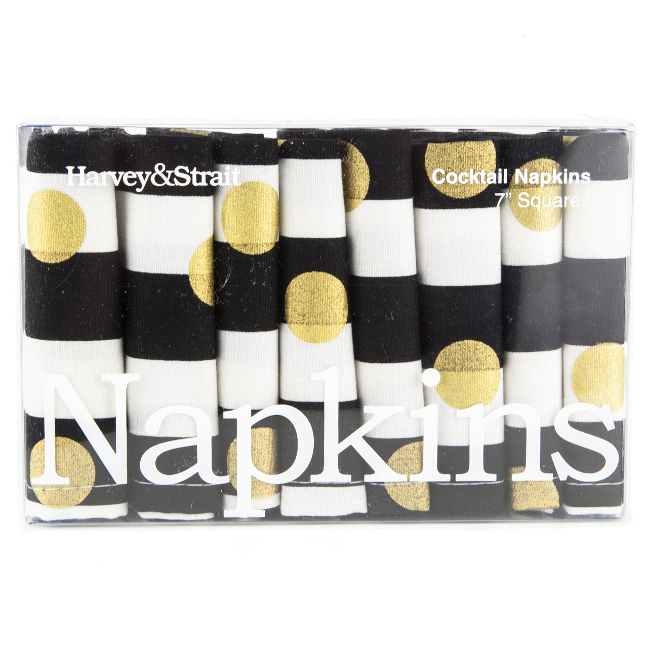 Black White & Gold Cloth Cocktail Napkins | The Hour Shop