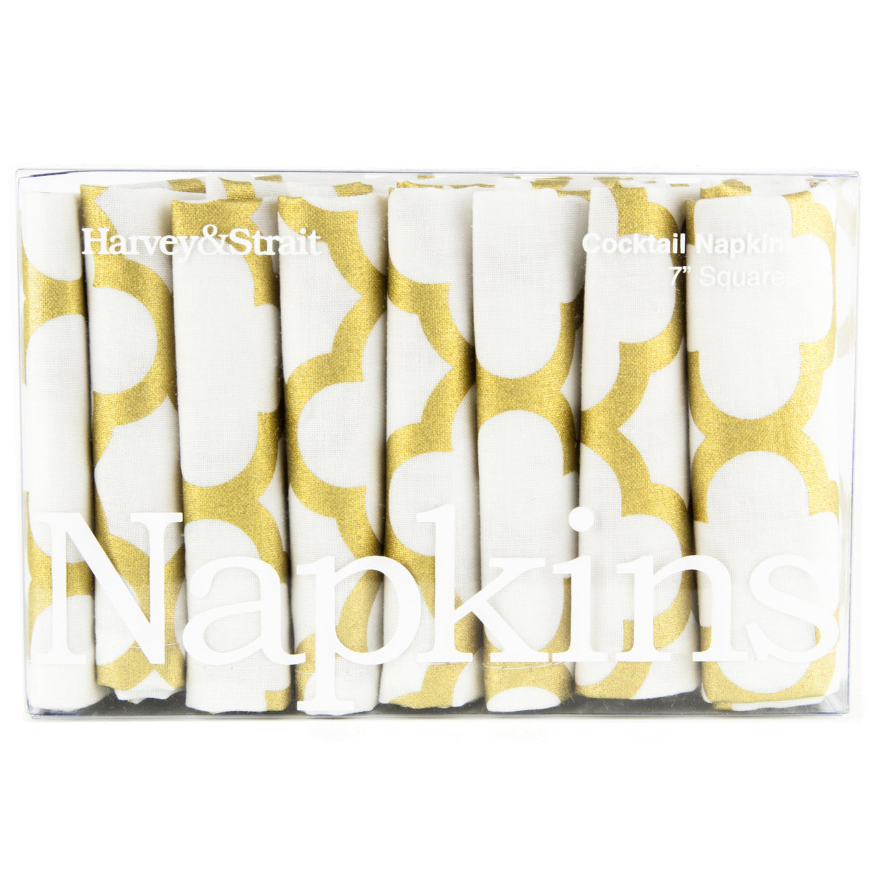Gold Trellis Cloth Cocktail Napkins | The Hour Shop Barware