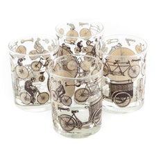 Georges Briard Brown Bicycle Rocks Glasses | The Hour Vintage