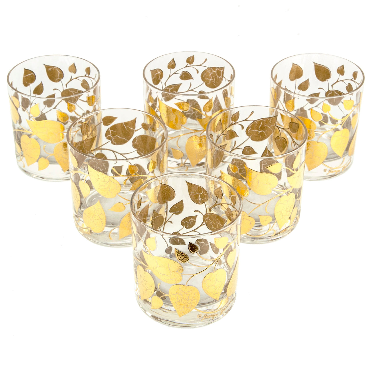 Georges Briard Gold Leaves Rocks Glasses | The Hour Vintage