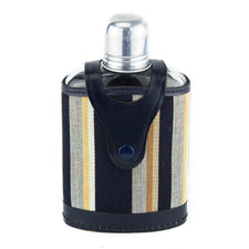 Striped Cloth & Leather Cased Glass Flask | The Hour Vintage