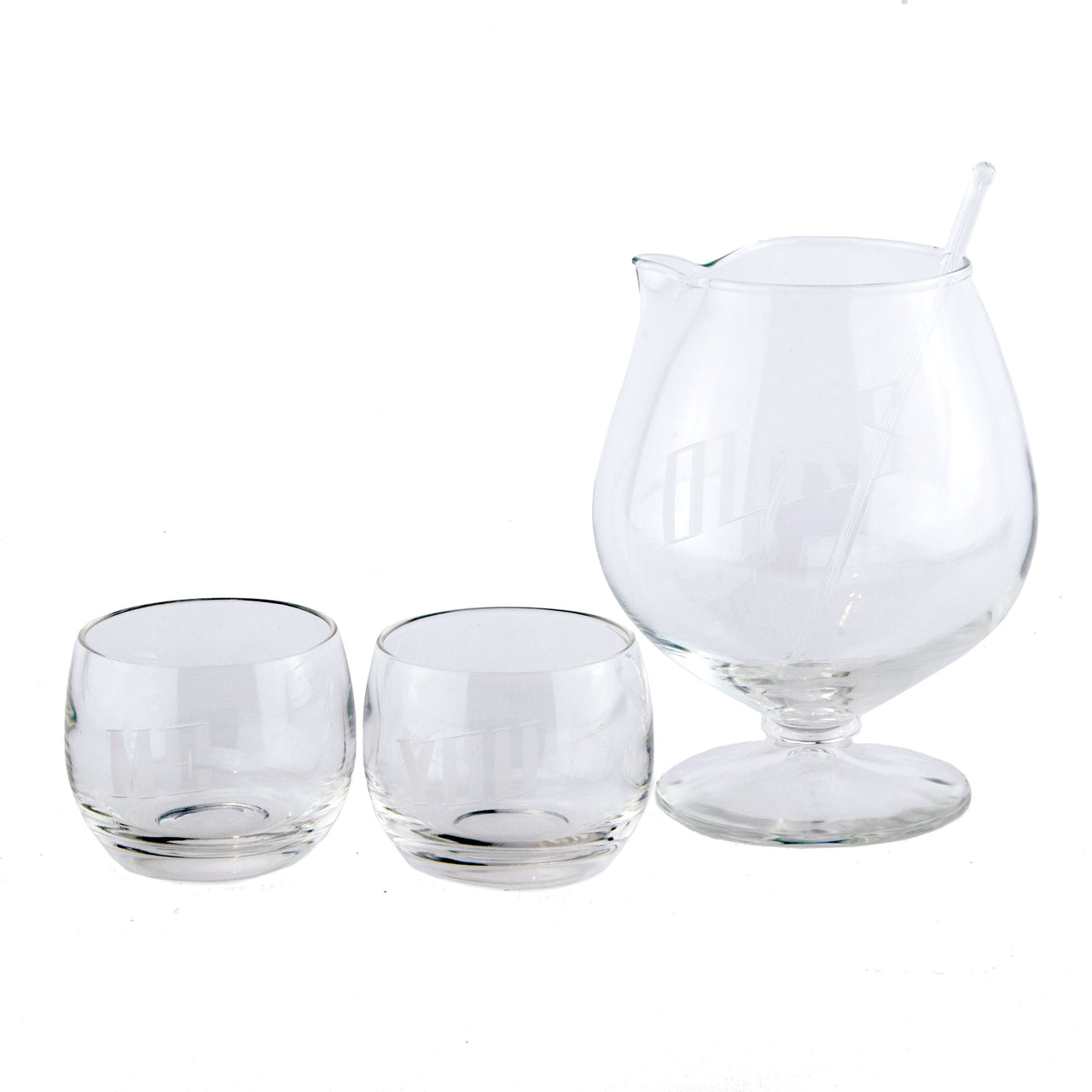 You, Me & Ours Etched Cocktail Pitcher Set | The Hour Vintage
