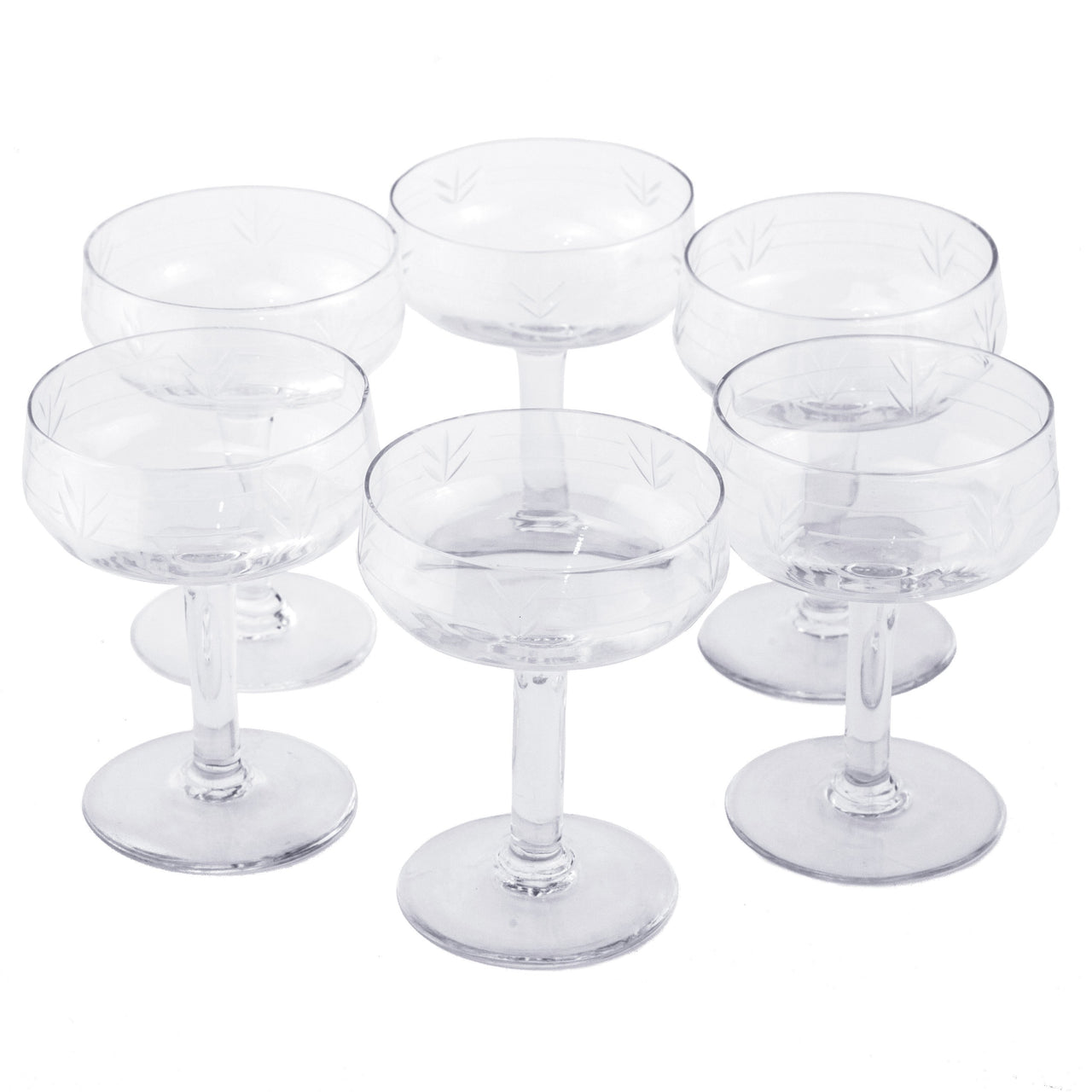 French Etched Paneled Coupe Glasses | The Hour Shop Vintage