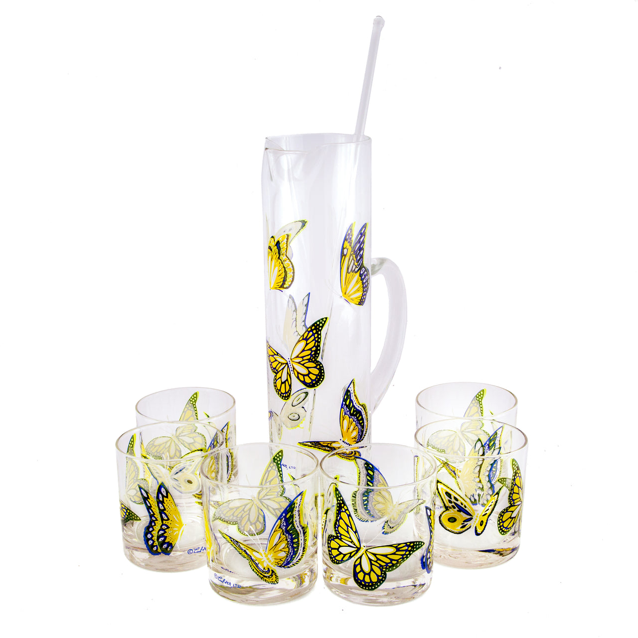 Culver 8 Piece Butterfly Cocktail Pitcher Set